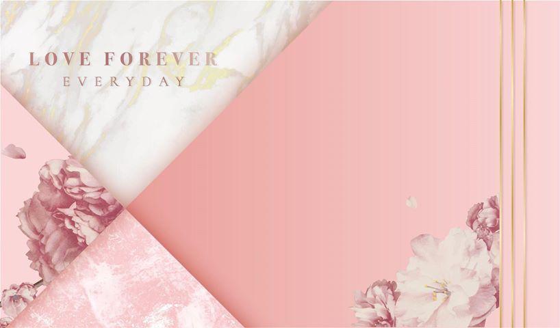 幾合粉紅嫩花大理石背板